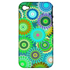 Funky Flowers A Apple iPhone 4/4S Hardshell Case (PC+Silicone)