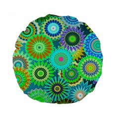 Funky Flowers A Standard 15  Premium Round Cushions