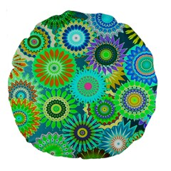 Funky Flowers A Large 18  Premium Round Cushions