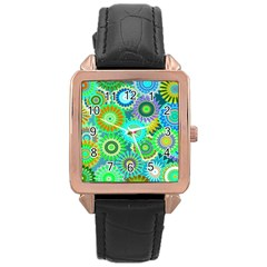 Funky Flowers A Rose Gold Leather Watch