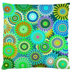 Funky Flowers A Large Flano Cushion Case (Two Sides)