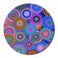 Funky Flowers B Round Mousepads