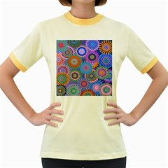 Funky Flowers B Women s Fitted Ringer T-Shirts