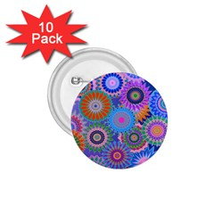 Funky Flowers B 1.75  Buttons (10 pack)