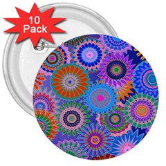 Funky Flowers B 3  Buttons (10 pack)