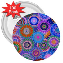 Funky Flowers B 3  Buttons (100 pack)