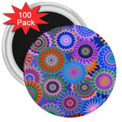 Funky Flowers B 3  Magnets (100 pack)