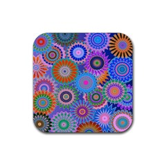 Funky Flowers B Rubber Square Coaster (4 pack)