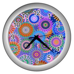 Funky Flowers B Wall Clocks (Silver)