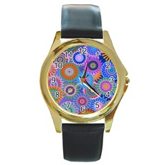 Funky Flowers B Round Gold Metal Watch