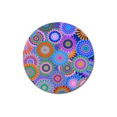 Funky Flowers B Magnet 3  (Round)