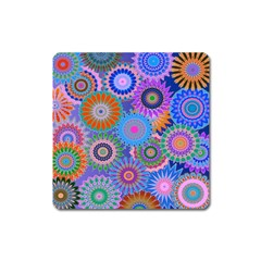Funky Flowers B Square Magnet