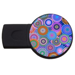 Funky Flowers B USB Flash Drive Round (1 GB)