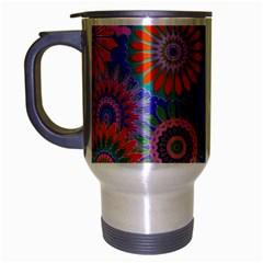 Funky Flowers B Travel Mug (Silver Gray)