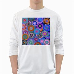 Funky Flowers B White Long Sleeve T-Shirts