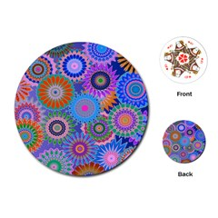 Funky Flowers B Playing Cards (Round)