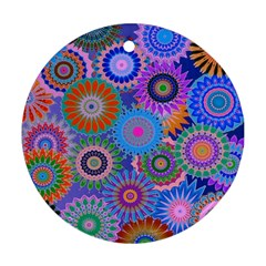 Funky Flowers B Round Ornament (Two Sides)