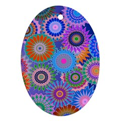 Funky Flowers B Oval Ornament (Two Sides)