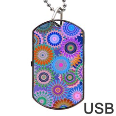 Funky Flowers B Dog Tag USB Flash (One Side)