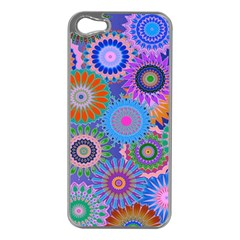Funky Flowers B Apple iPhone 5 Case (Silver)