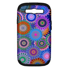 Funky Flowers B Samsung Galaxy S III Hardshell Case (PC+Silicone)