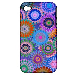 Funky Flowers B Apple iPhone 4/4S Hardshell Case (PC+Silicone)