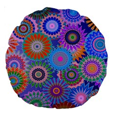 Funky Flowers B Large 18  Premium Round Cushions