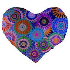 Funky Flowers B Large 19  Premium Heart Shape Cushions