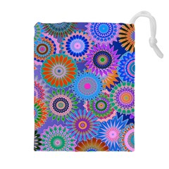 Funky Flowers B Drawstring Pouches (Extra Large)