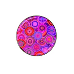 Funky Flowers C Hat Clip Ball Marker (4 pack)