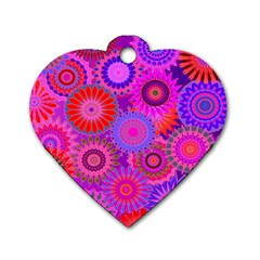 Funky Flowers C Dog Tag Heart (One Side)
