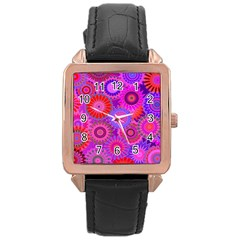 Funky Flowers C Rose Gold Leather Watch