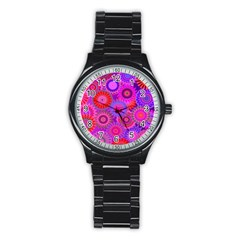 Funky Flowers C Stainless Steel Round Watch