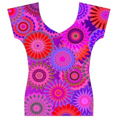 Funky Flowers C Women s V-Neck Cap Sleeve Top