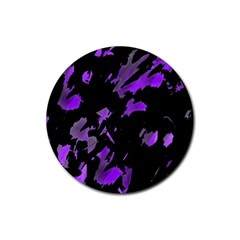 Painter was here - purple Rubber Coaster (Round)