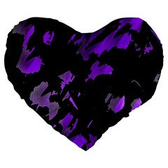 Painter was here - purple Large 19  Premium Flano Heart Shape Cushions