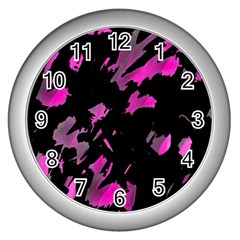 Painter was here - magenta Wall Clocks (Silver)
