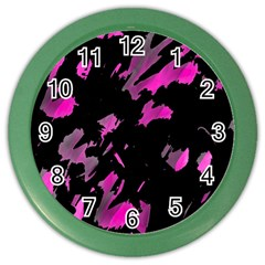 Painter was here - magenta Color Wall Clocks