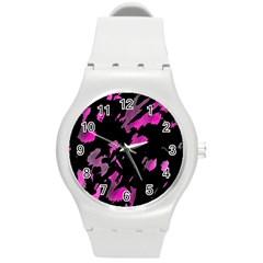 Painter was here - magenta Round Plastic Sport Watch (M)