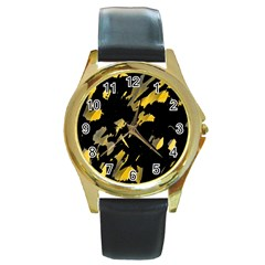 Painter was here - yellow Round Gold Metal Watch