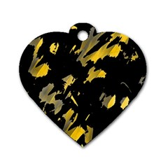 Painter was here - yellow Dog Tag Heart (Two Sides)