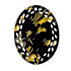 Painter was here - yellow Oval Filigree Ornament (2-Side)