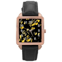 Painter was here - yellow Rose Gold Leather Watch