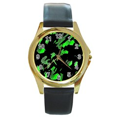 Painter was here - green Round Gold Metal Watch