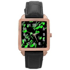 Painter was here - green Rose Gold Leather Watch