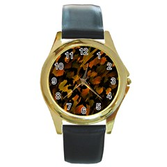 Abstract Autumn  Round Gold Metal Watch