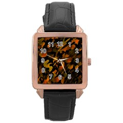 Abstract Autumn  Rose Gold Leather Watch