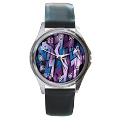 Purple decorative abstract art Round Metal Watch