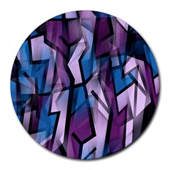 Purple decorative abstract art Round Mousepads