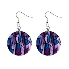 Purple Decorative Abstract Art Mini Button Earrings